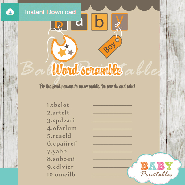 baby blocks letters printable word scramble baby shower games