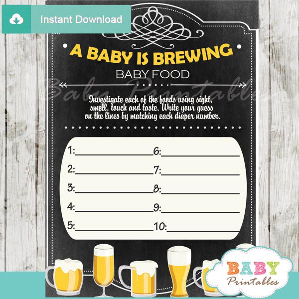 baby is brewing printable baby shower games blind tasting baby food