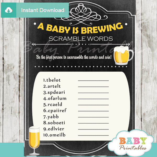 baby is brewing printable word scramble baby shower games