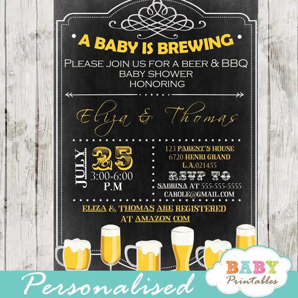 diy baby brewing beer couples baby shower invitation printable