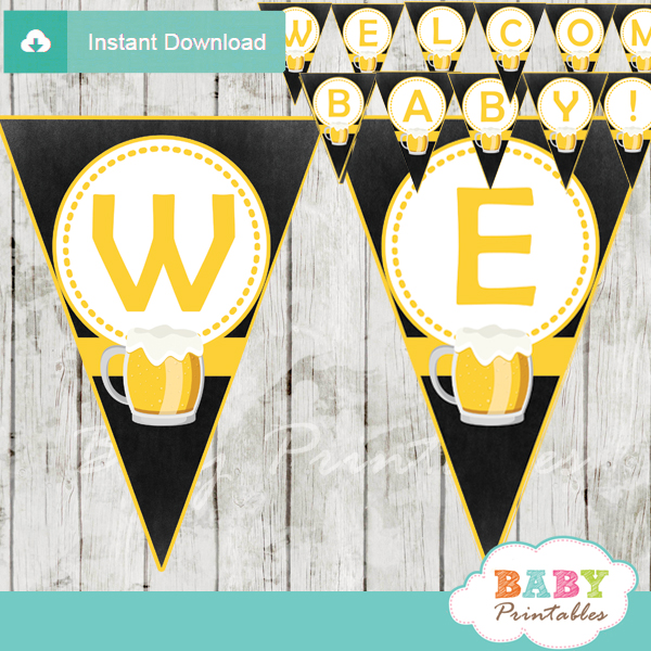 printable welcome baby brewing beer bbq decoration baby shower banner