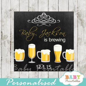 printable baby is brewing beer babyq baby shower gift labels