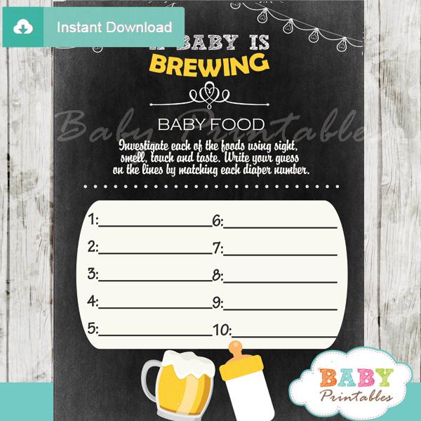 beer bbq printable baby shower games blind tasting baby food