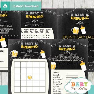 printable beer bbq themed baby shower games package