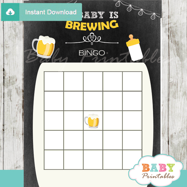 printable baby brewery beer bbq themed baby shower bingo games cards