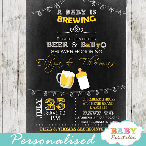 A Baby Is Brewing Baby Shower Beer Amp Babyq Invitation