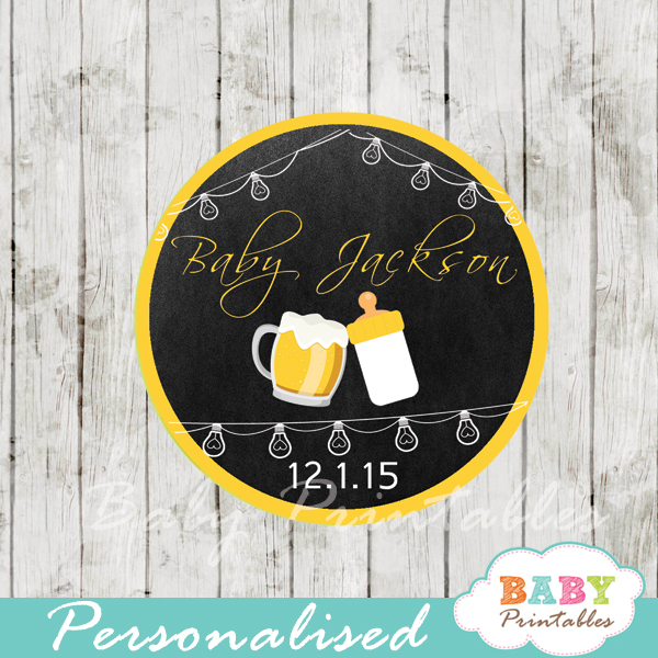 beer themed baby shower tags labels