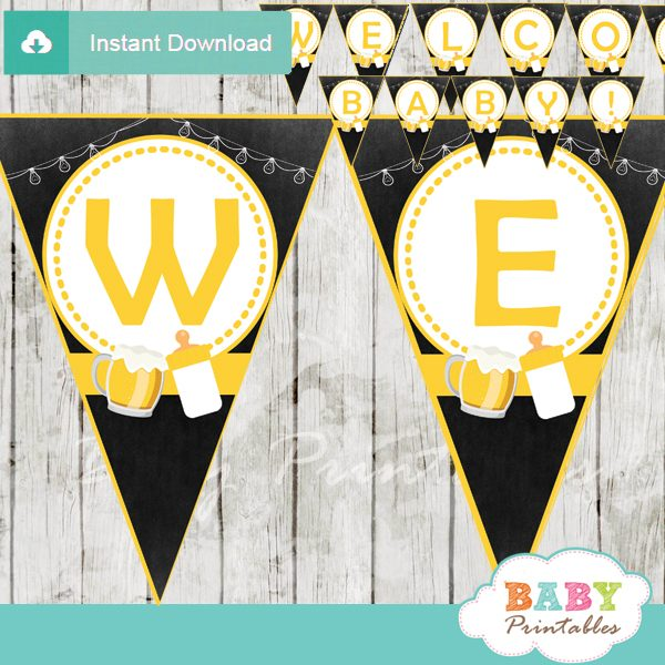 printable welcome beer bbq decoration baby shower banner