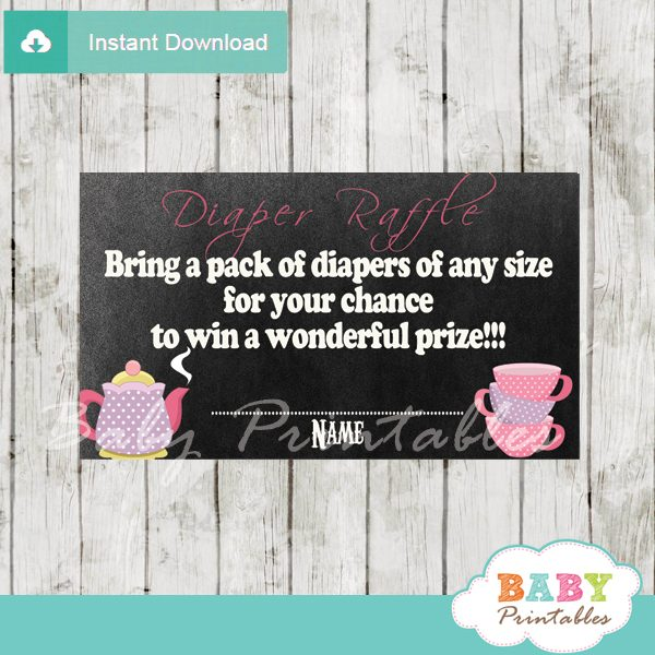 printable tea party diaper raffle game cards baby shower