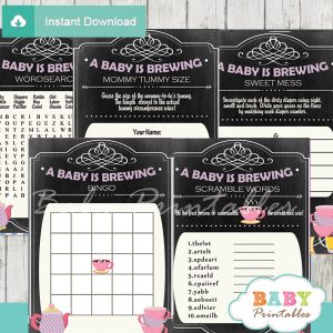 printable tea party themed baby shower games package