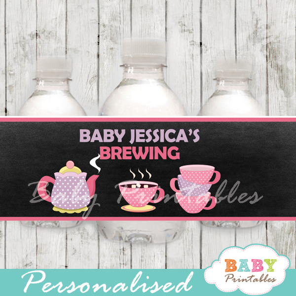 custom tea party baby shower bottle wrappers diy online