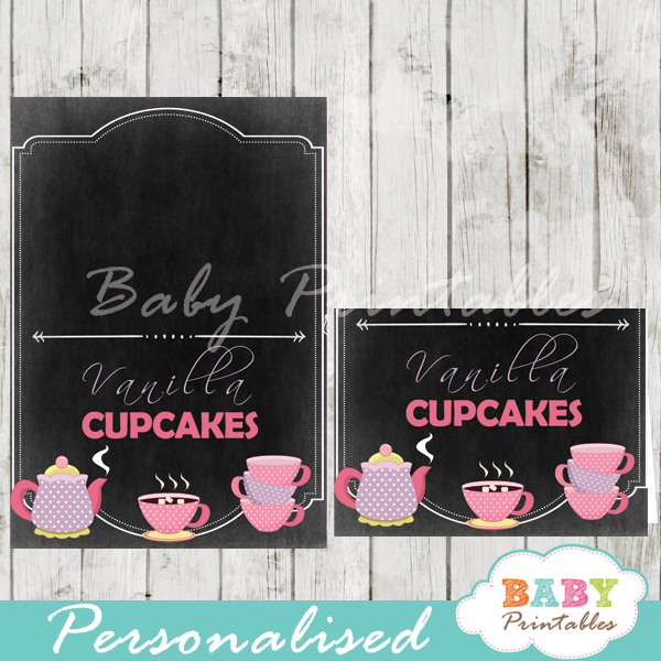 printable baby girl tea party food label cards