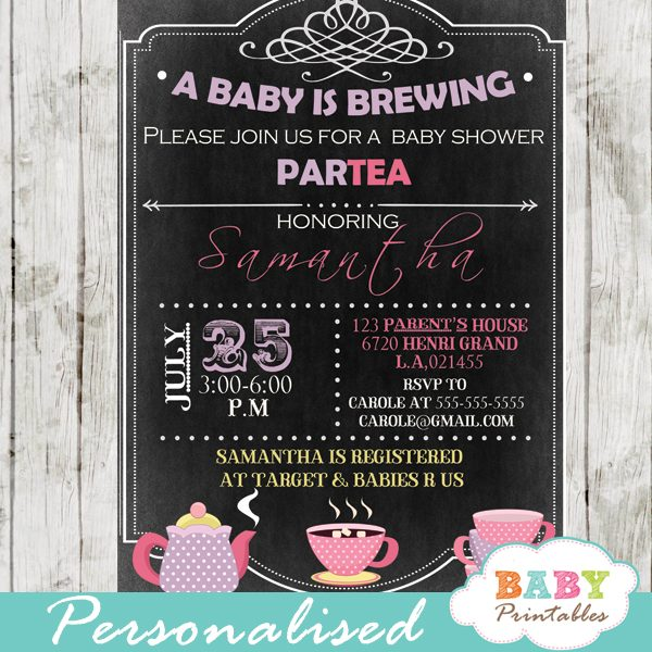 diy a baby is brewing tea party baby shower invitation printable