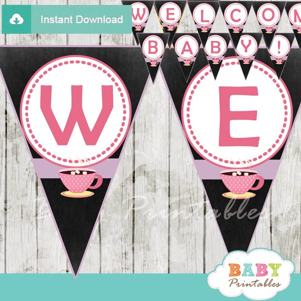 printable welcome tea party decoration baby shower banner