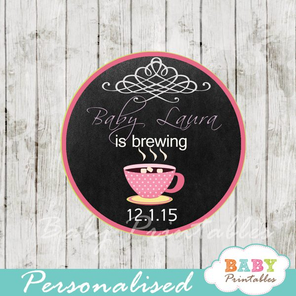tea themed baby shower tags labels