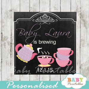 printable girl tea party baby shower gift labels