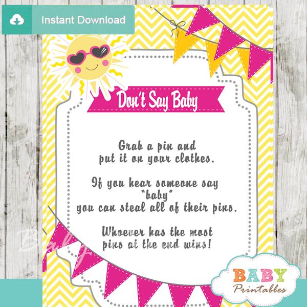 girl printable sunshine theme Dont Say Baby Game pdf