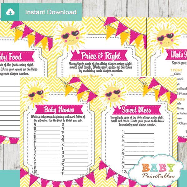 printable sunshine baby girl shower fun games ideas