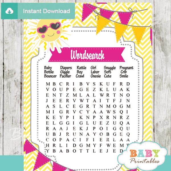 Pink Yellow You Are My Sunshine Baby Shower Games D161 Baby