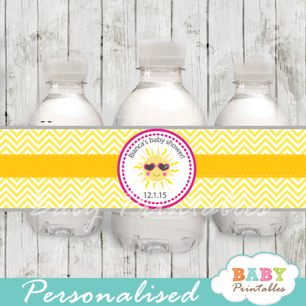 custom pink yellow chevron sunshine baby shower bottle wrappers diy online