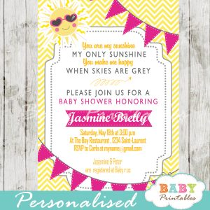 custom sunshine yellow chevron baby shower invitation printable