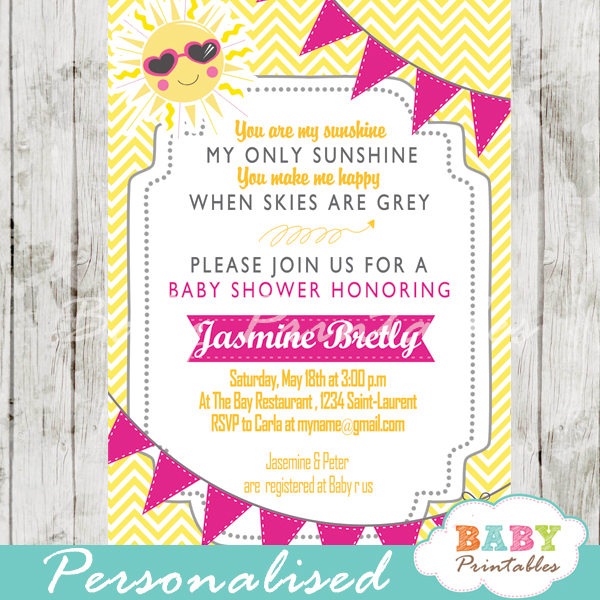 Pink yellow you are my sunshine baby shower invitation d161 custom sunshine yellow chevron baby shower invitation printable filmwisefo