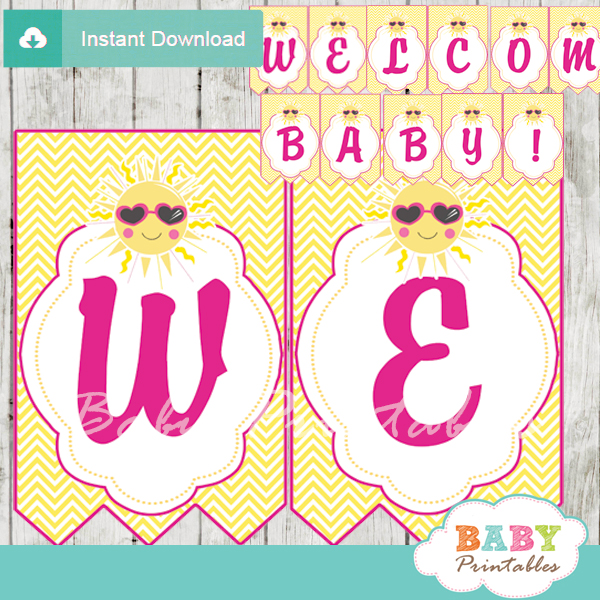printable welcome pink yellow sunshine decoration baby shower banner