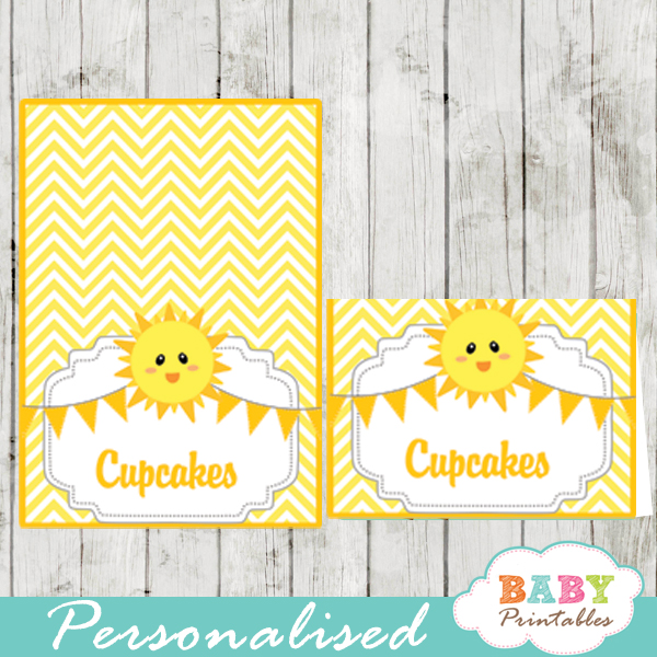 you are my sunshine baby shower food tent cards d160