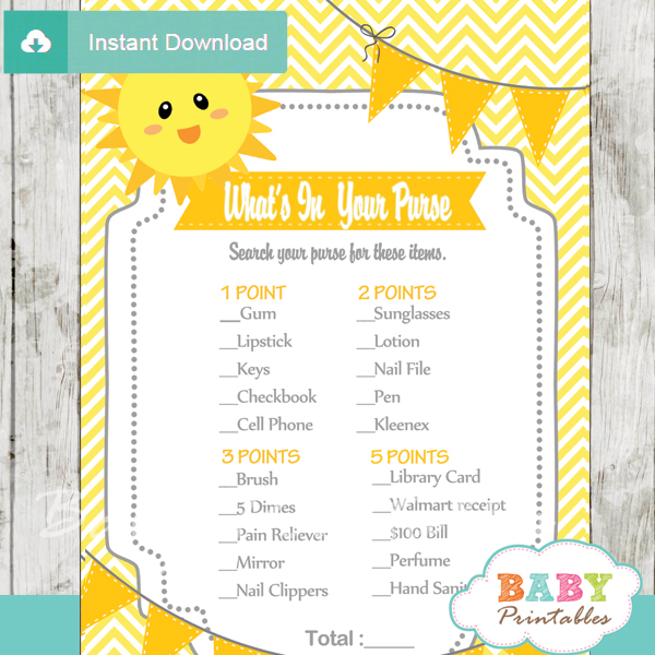 yellow sunshine themed printable baby shower games what's in your purse