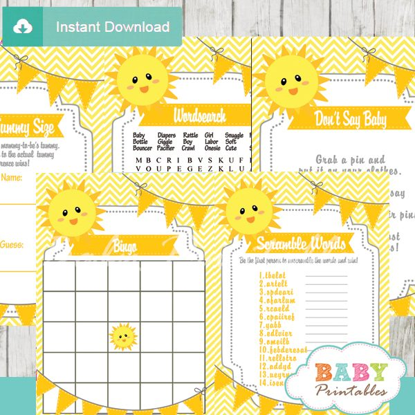 printable yellow chevron sunshine themed baby shower games package