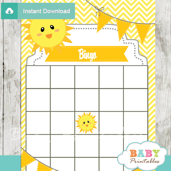 printable sunshine themed baby shower bingo games cards