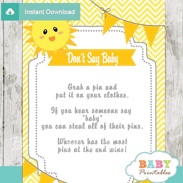 printable sunshine theme Dont Say Baby Game pdf