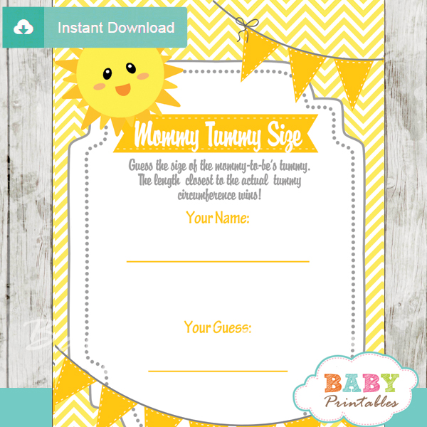 You Are My Sunshine Baby Shower Games D160 Baby Printables