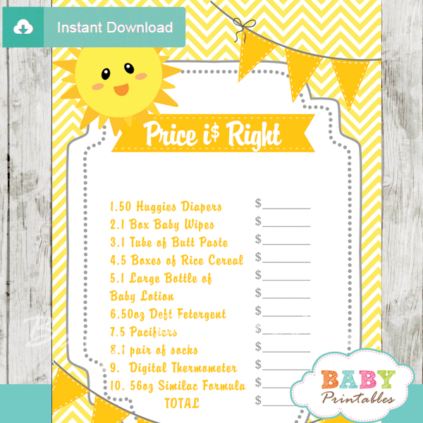 sunshine Price is Right Baby Shower Games printable pdf