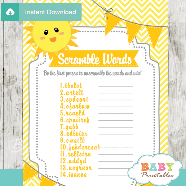 photograph about You Are My Sunshine Free Printable identify On your own Are My Sun Boy or girl Shower Video games - D160 - Boy or girl Printables
