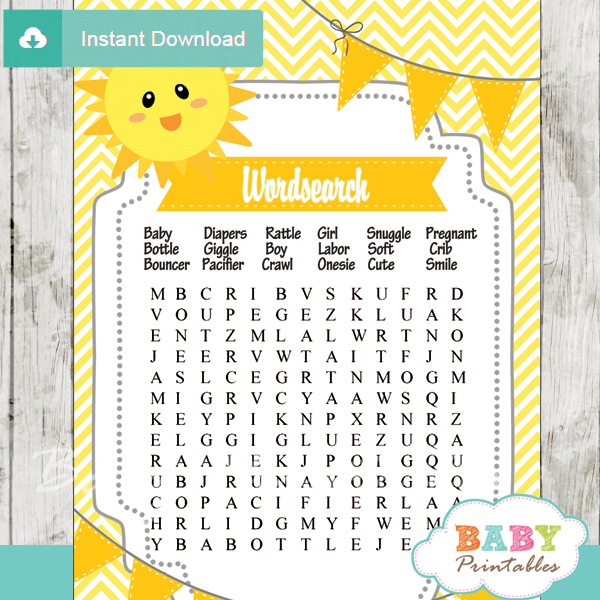 You Are My Sunshine Baby Shower Games - D160 - Baby Printables
