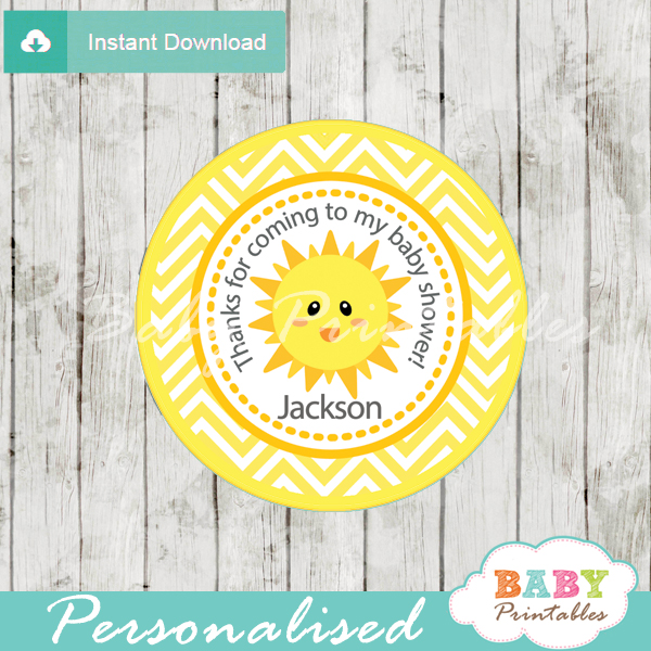 custom yellow chevron sunshine themed baby shower tags labels