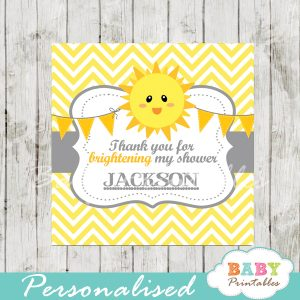 printable yellow chevron sunshine baby shower gift labels