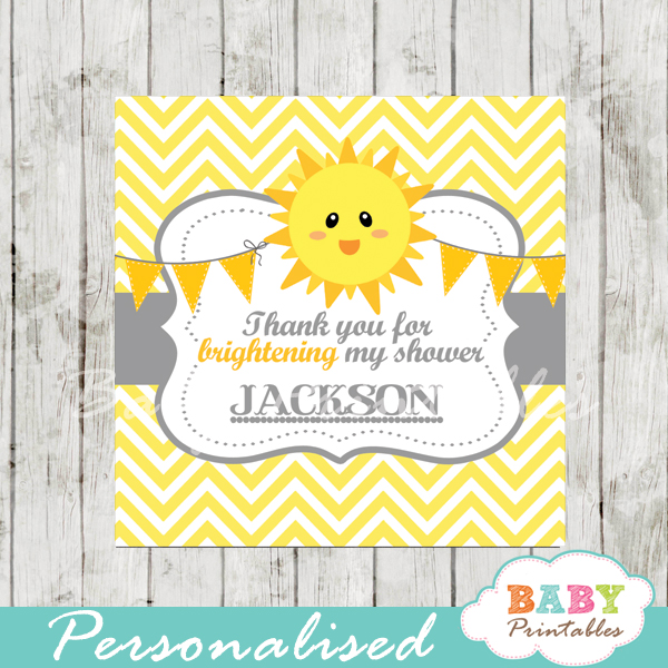 photograph relating to You Are My Sunshine Printable identified as Your self Are My Sunlight Youngster Shower Sq. Labels - D160