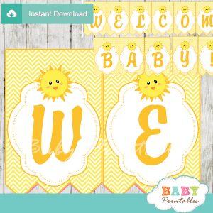 printable welcome yellow sunshine decoration baby shower banner