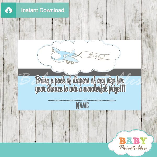 printable blue plane diaper raffle game cards baby shower