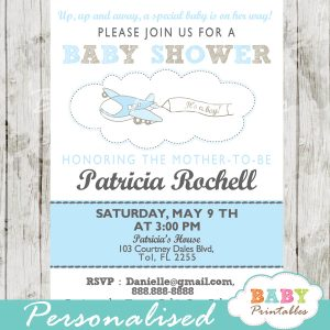 unique printable airplane theme baby shower invitation for boys