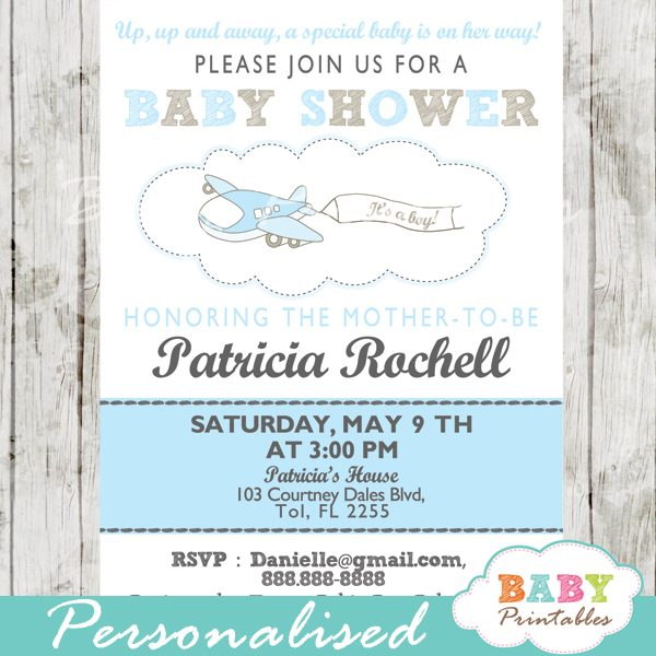 Blue Airplane Baby Shower Invitation Boys D164