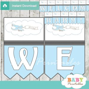 printable blue airplane decoration baby shower welcome banner