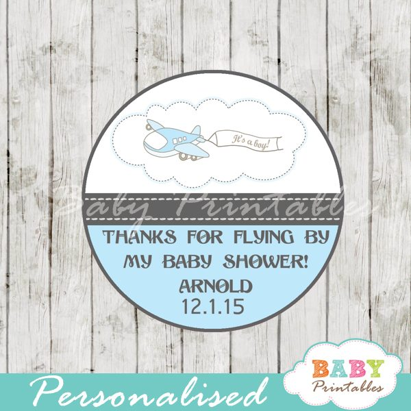 custom blue airplane themed baby shower favor labels