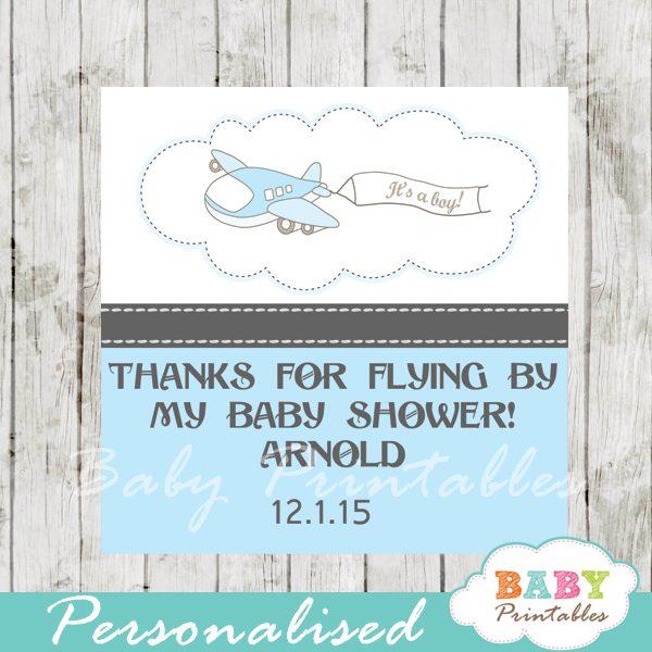 printable custom blue airplane baby shower gift tags