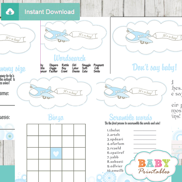 Blue Airplane Baby Shower Games Bundle D164 Baby