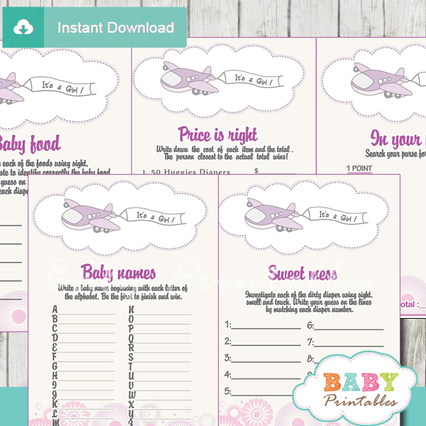 printable airplane baby girl shower fun games ideas
