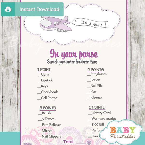 purple airplane themed printable baby shower games what's in your purse