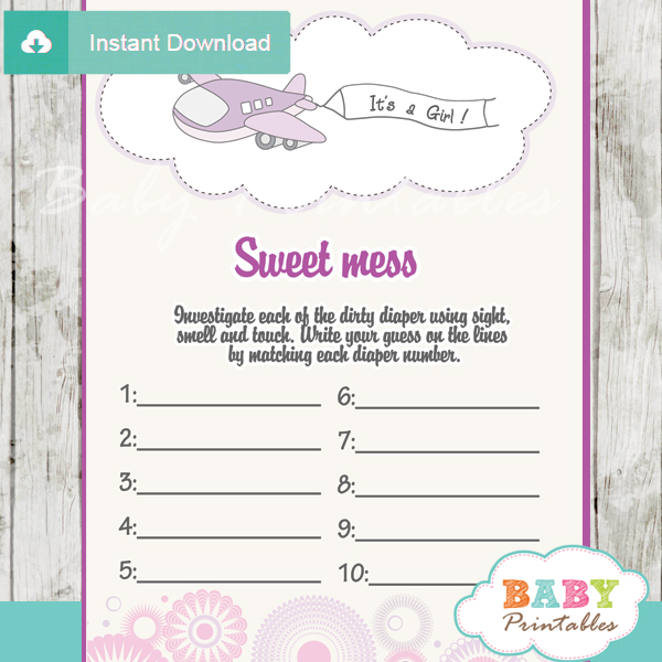 air plane themed Baby Shower Game What's That Sweet Mess Dirty Diaper Shower Game